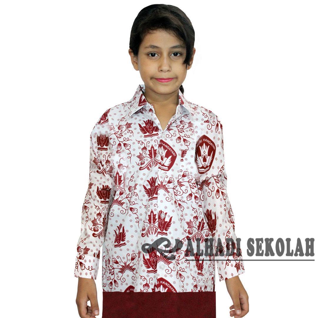Seragam Batik Sekolah SD Lengan Panjang, UKURAN 5 s/d 12 (KSB001-01) Batik Alhadi