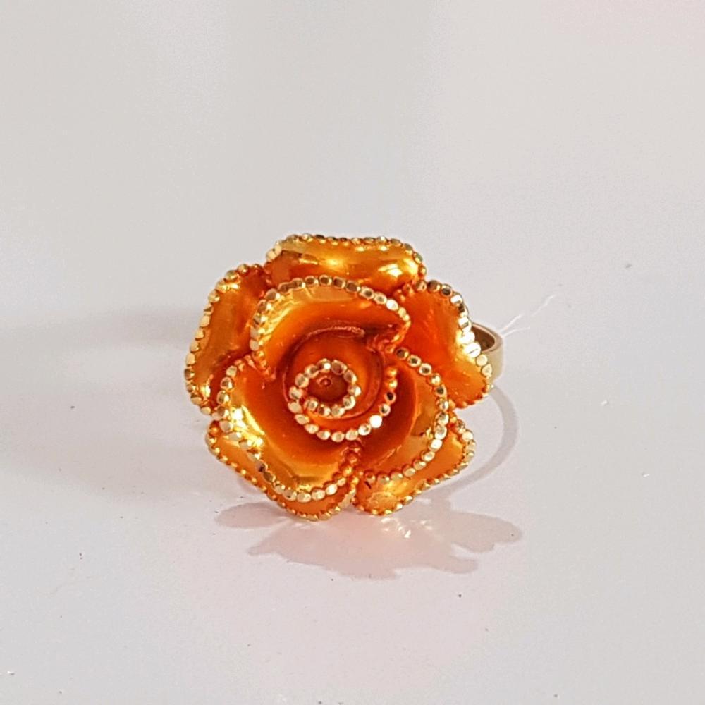 New.. Cincin Emas Asli Kadar 875 Blossom Rose Orange 21k Internasional Gold / Cincin Wanita / Perhiasan / Gold Ring