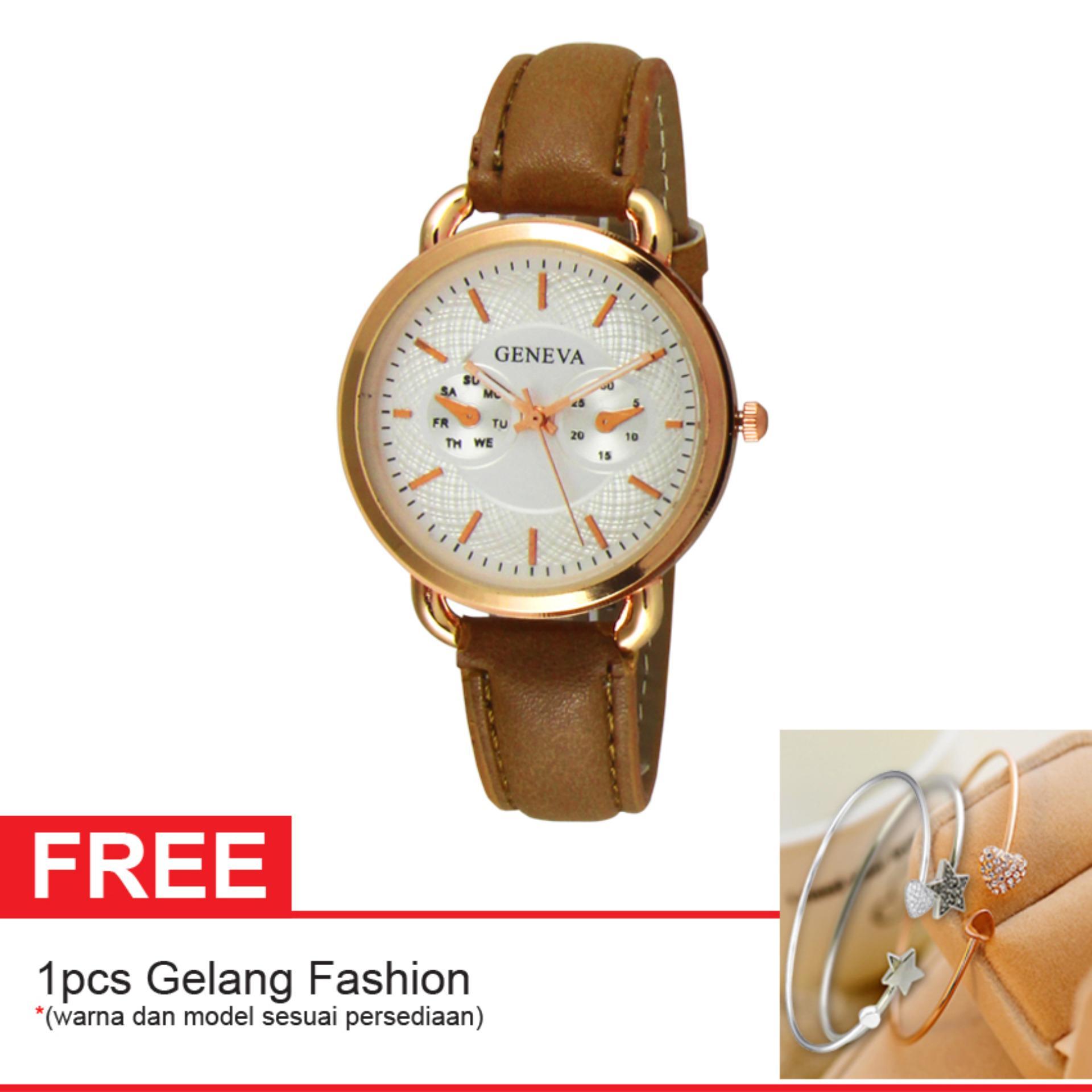 FREE 1 PCS GELANG CANTIK - Geneva Ladies Fashion Watch GNV 1675free - Jam Tangan Fashion Wanita - Kulit - Korean Style