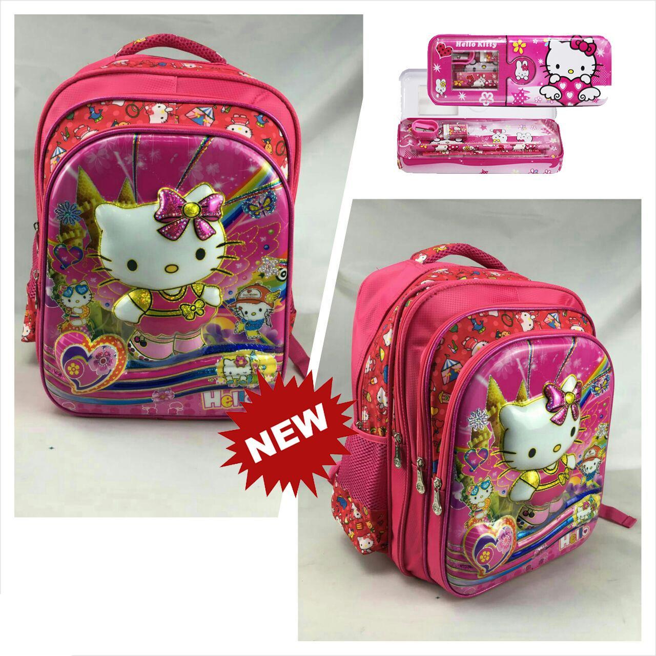 Onlan Tas Ransel Anak Sekolah SD Karakter Anak Perempuan Motif 6D Timbul Import 4 Kantung Besar + Kotak Pensil - Pink