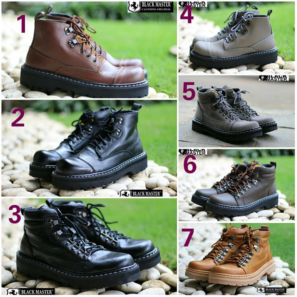 Promo Sepatu Pria Black Master Hard Rock Boots Kulit Hand Made Original Tracking Hiking Touring Gratis 1 Pasang Kaos Kaki Fashion