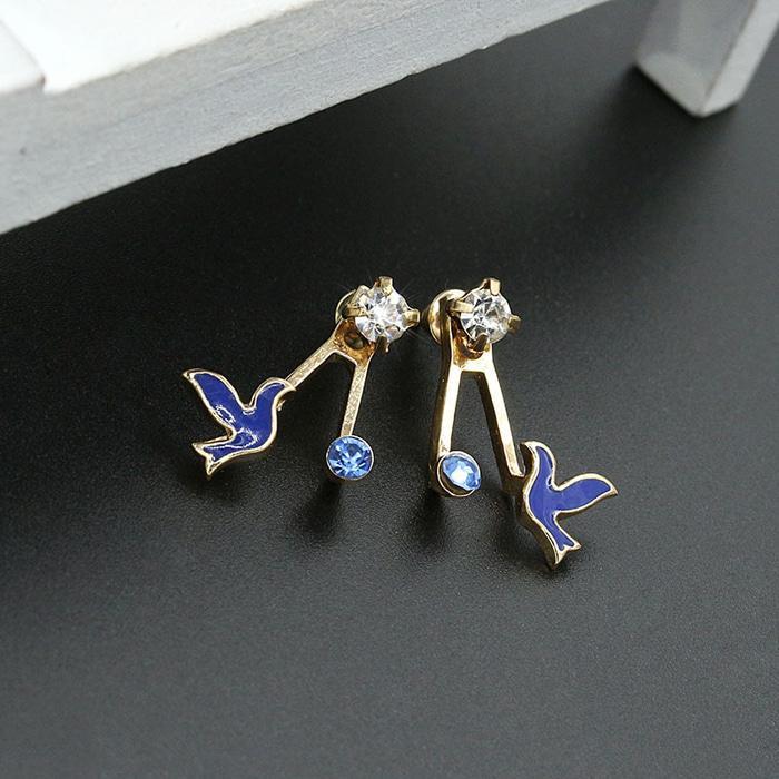 anting burung berlian biru diamond bird earrings Korean earring jan047