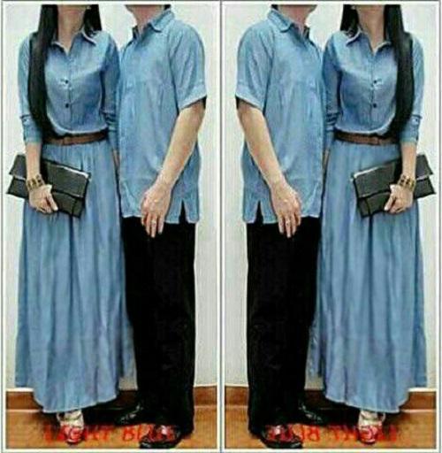 Fashion Story - Dress Maxi Couple Denim / Dress Couple Murah / Baju Kopel / Dress Kapel /Maxi Couple Muslim / Baju Couple Lebaran / Baju Muslim