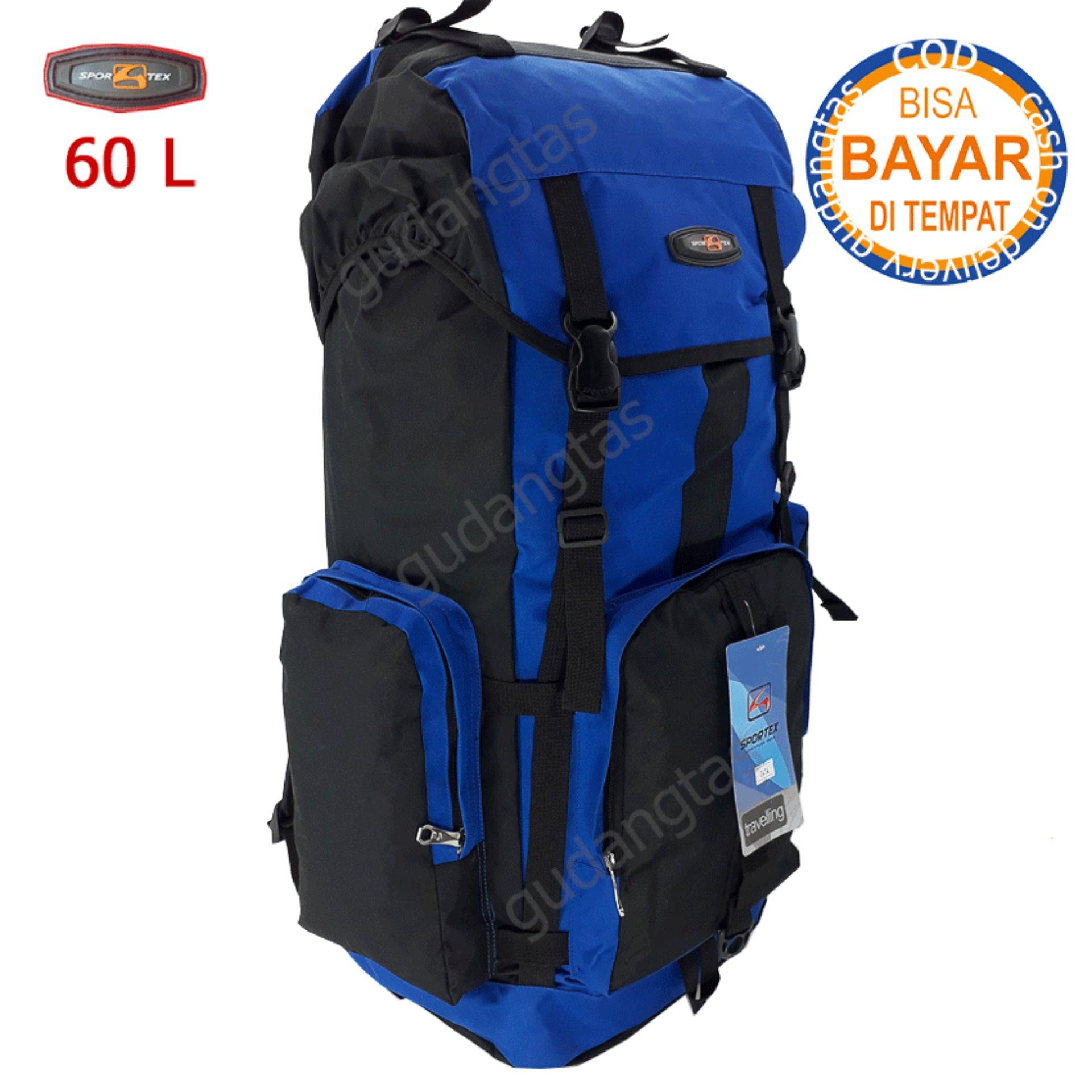 Sportex Tas Gunung Tas Keril Tas Carrier Ransel Camping Tas Hiking 60L 04W4 Biru Terang kombinasi Hitam