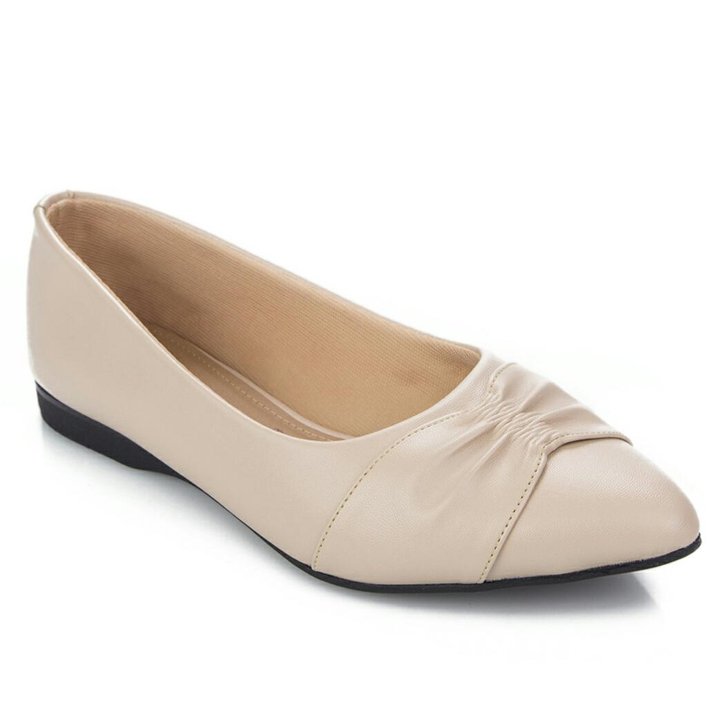 Connexion sepaty flat wanita wringle - cream