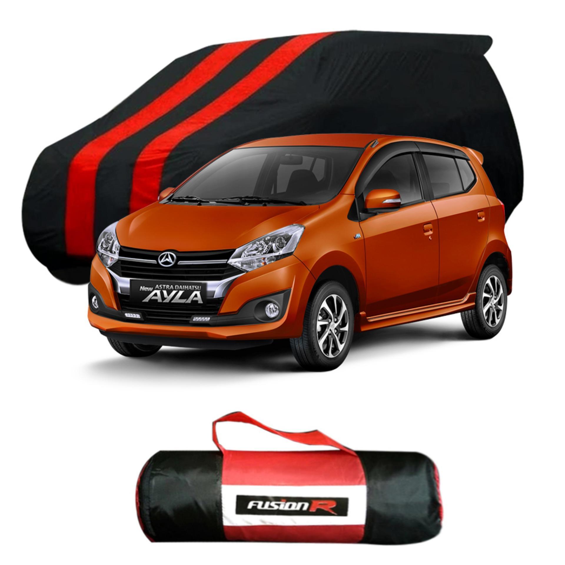 Vanguard Body Cover Penutup Mobil AYLA Merah Hitam Waterproof / Sarung Mobil AYLA Premium