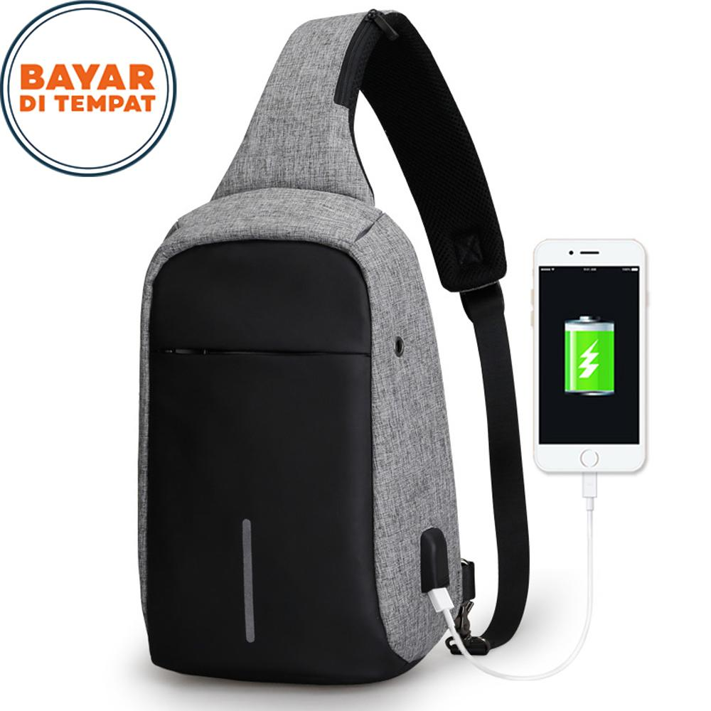 Polo Top Tas Selempang Sling Bag Anti Maling M-6666FS Cross Body With USB Charger Support For Iphone Ipad Mini Samsung Tab Tablet 10'' Model Slingbag Anti Theft - Black Grey + USB