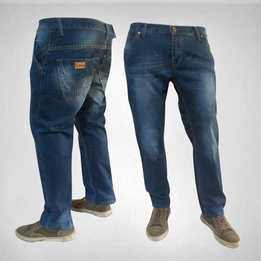 Celana Murah Pria-Celana Jeans  Panjang Biru Wash Standar/Reguller/Basic/Formal/Casual/Jeans Lois Lurus-Best seller