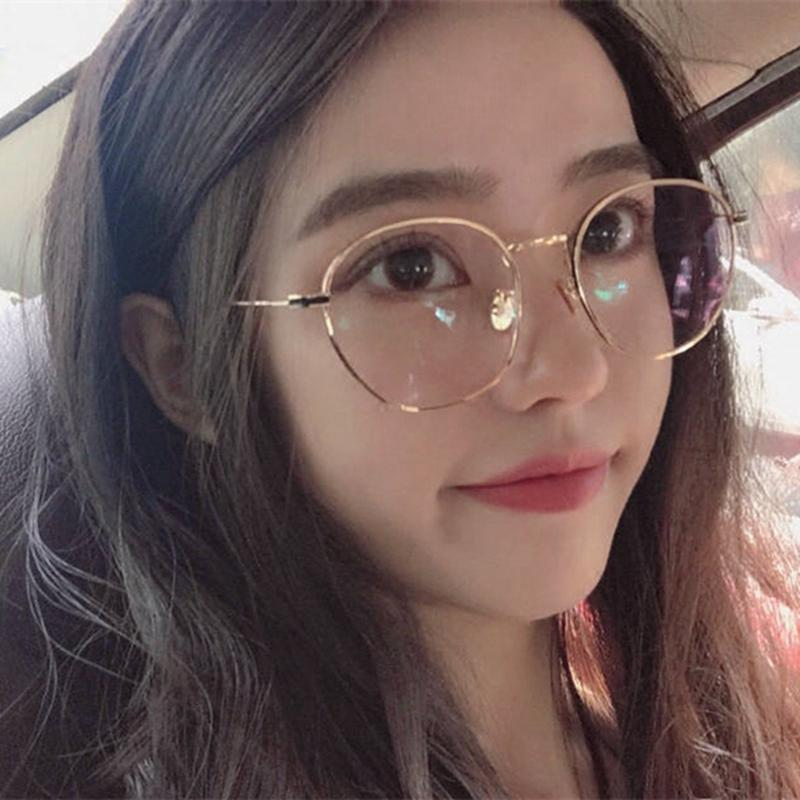 a318d8d9f39 Pearl Glasses Frame women Korean Style Fashion Vintage Myopia Ultra-Light  Eyeglasses Fixing Device round