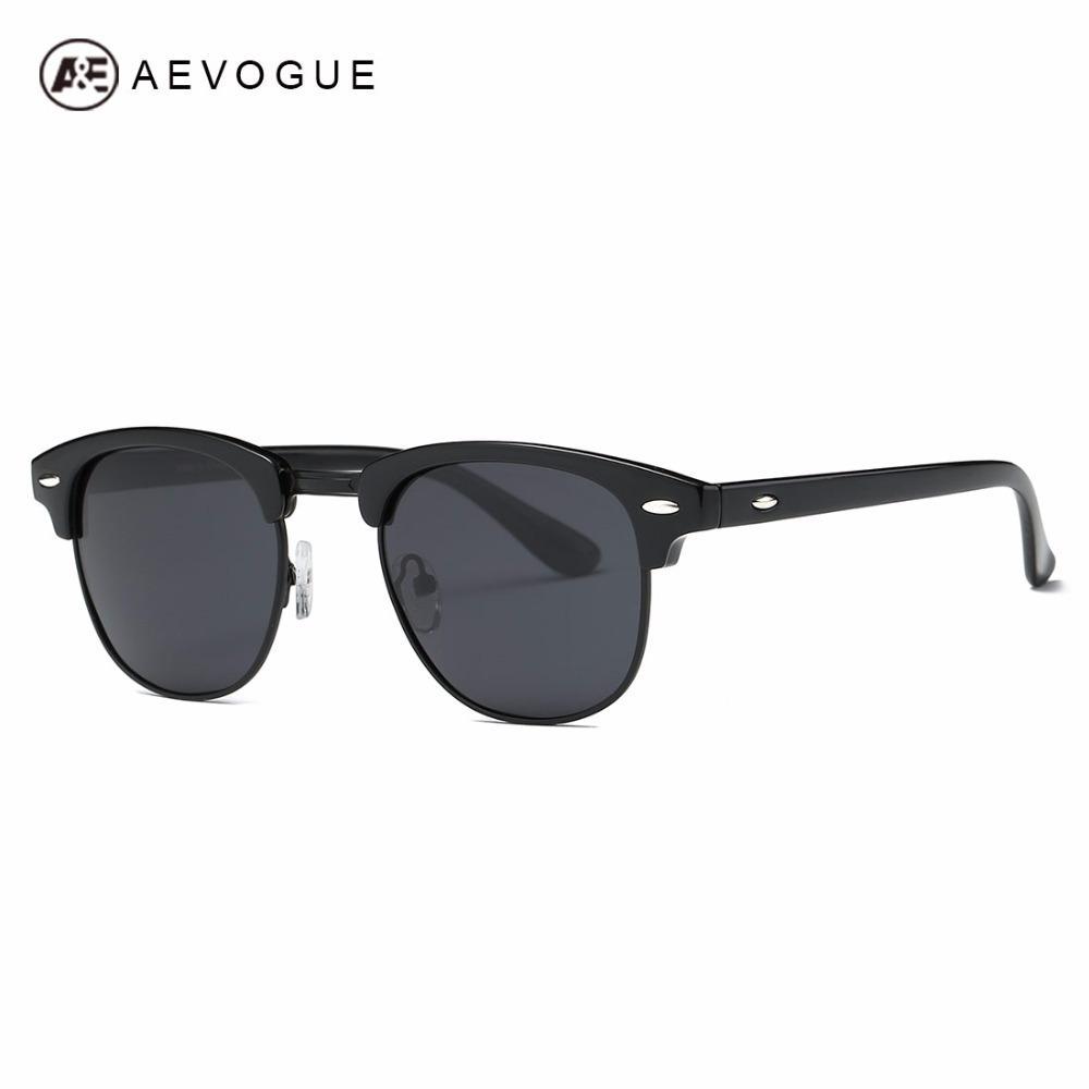 Aevogue Kacamata Hitam Terpolarisasi Pria Retro Semi Tanpa Bingkai Polaroid Lensa Gaya Musim Panas Merk Desainer Uniseks Kacamata Hitam AE0550-Intl