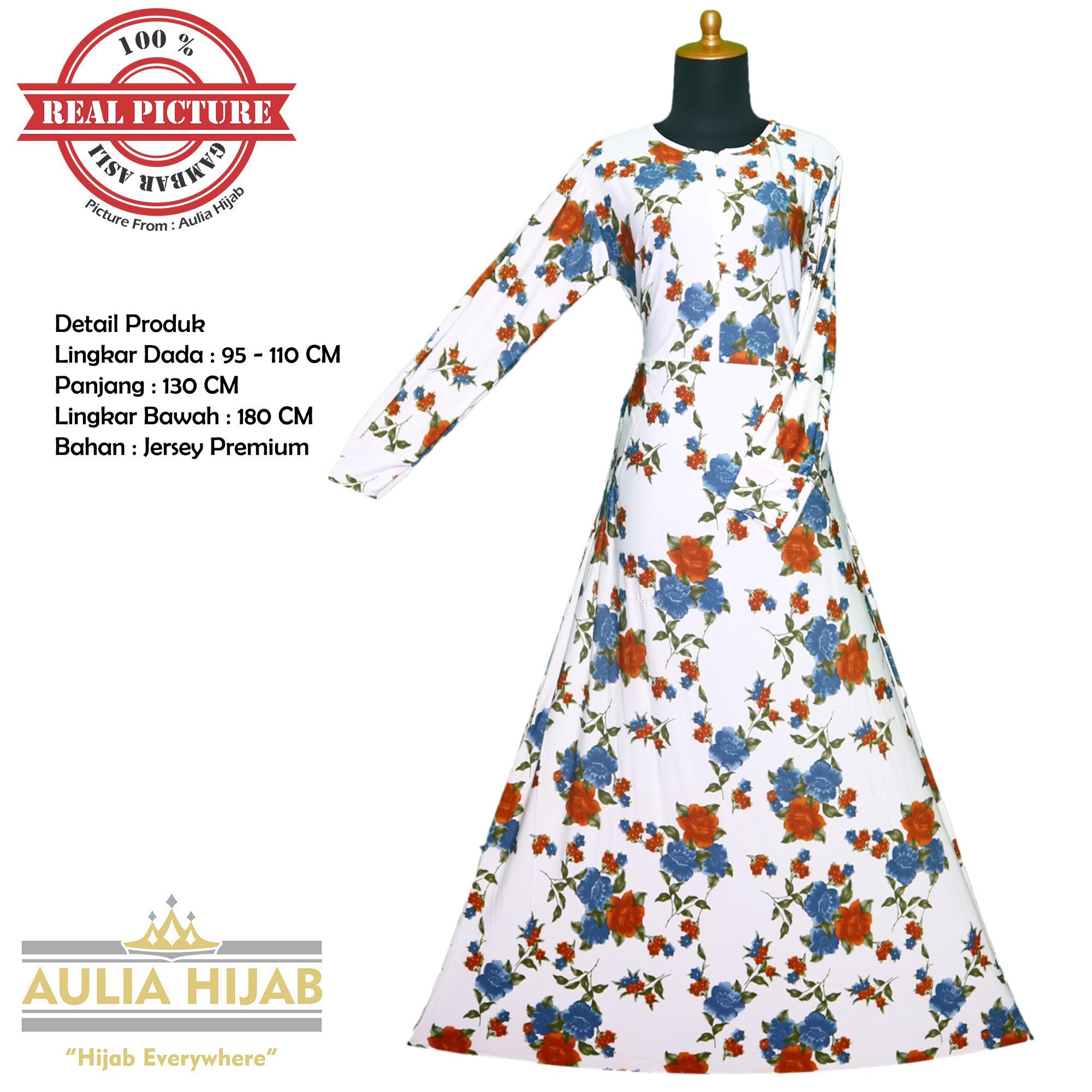 Aulia Hijab - New Flower Dress Bahan Jersey/Gamis Jersey/Gamis Batik/Gamis Premium/Gamis Pesta/Gamis Real Picture/Gamis Santai/Gamis Kerja/Gamis Harian/Gamis Termurah/Gamis Asli