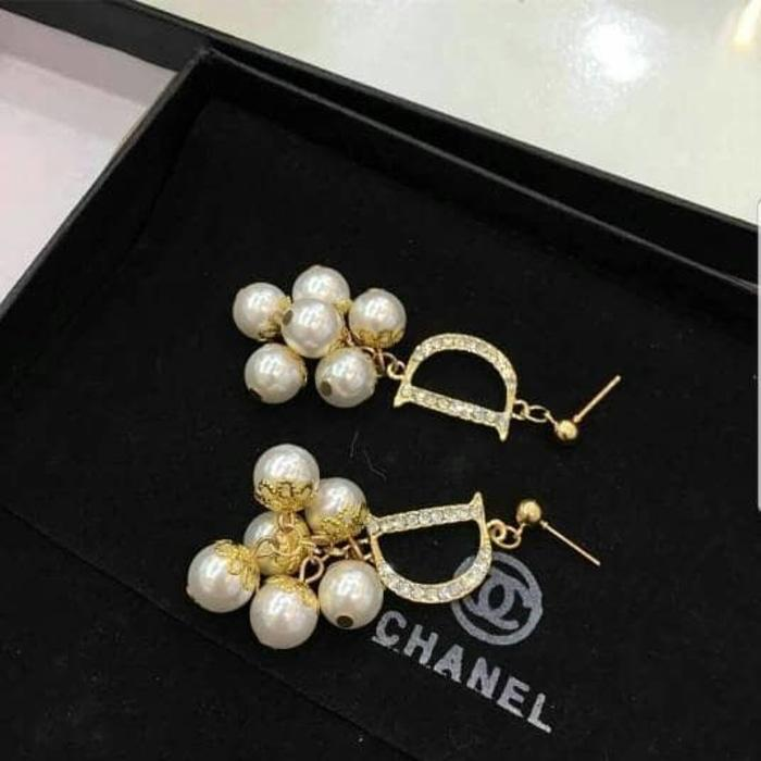 Anting - Gold Dior Pearly Earrings