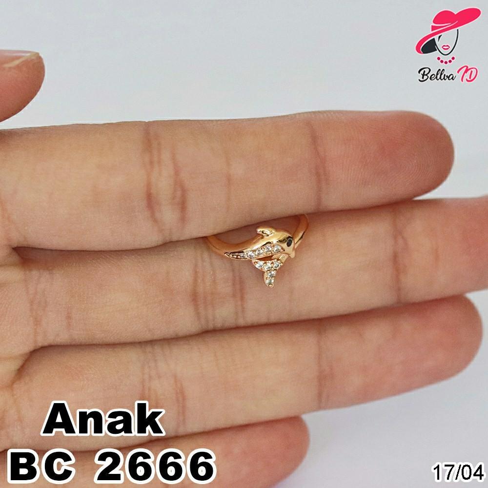 Perhiasan Cincin Emas Lumba-Lumba Tabur Permata Murah C 2666 Anak