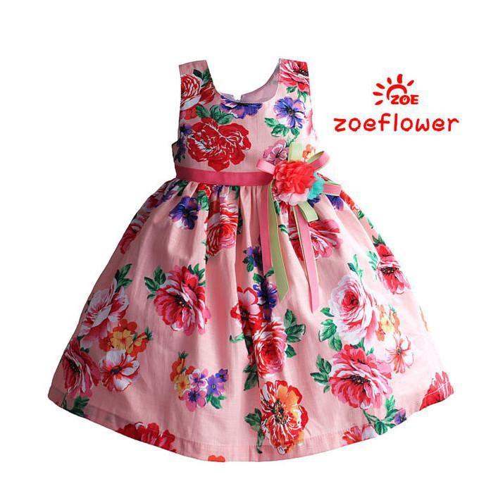 PROMO SALE - DRESS ANAK IMPORT - ZOE FLOWER ZF 406  F001