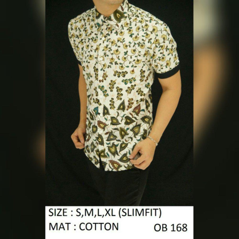 Baju Kemeja Batik Slimfit OB168.  (fashion batik slimfit pria jas dasi kaos oblong tshirt jaket celana jeans hem couple pakaian muslim gamis dress blouse baju koko) di lapak New Trendy newtrendy