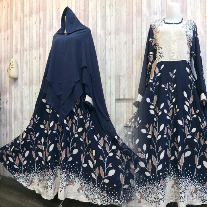 Adzra Gamis Murah syari/busana muslim wanita - Safina dress - Dongker