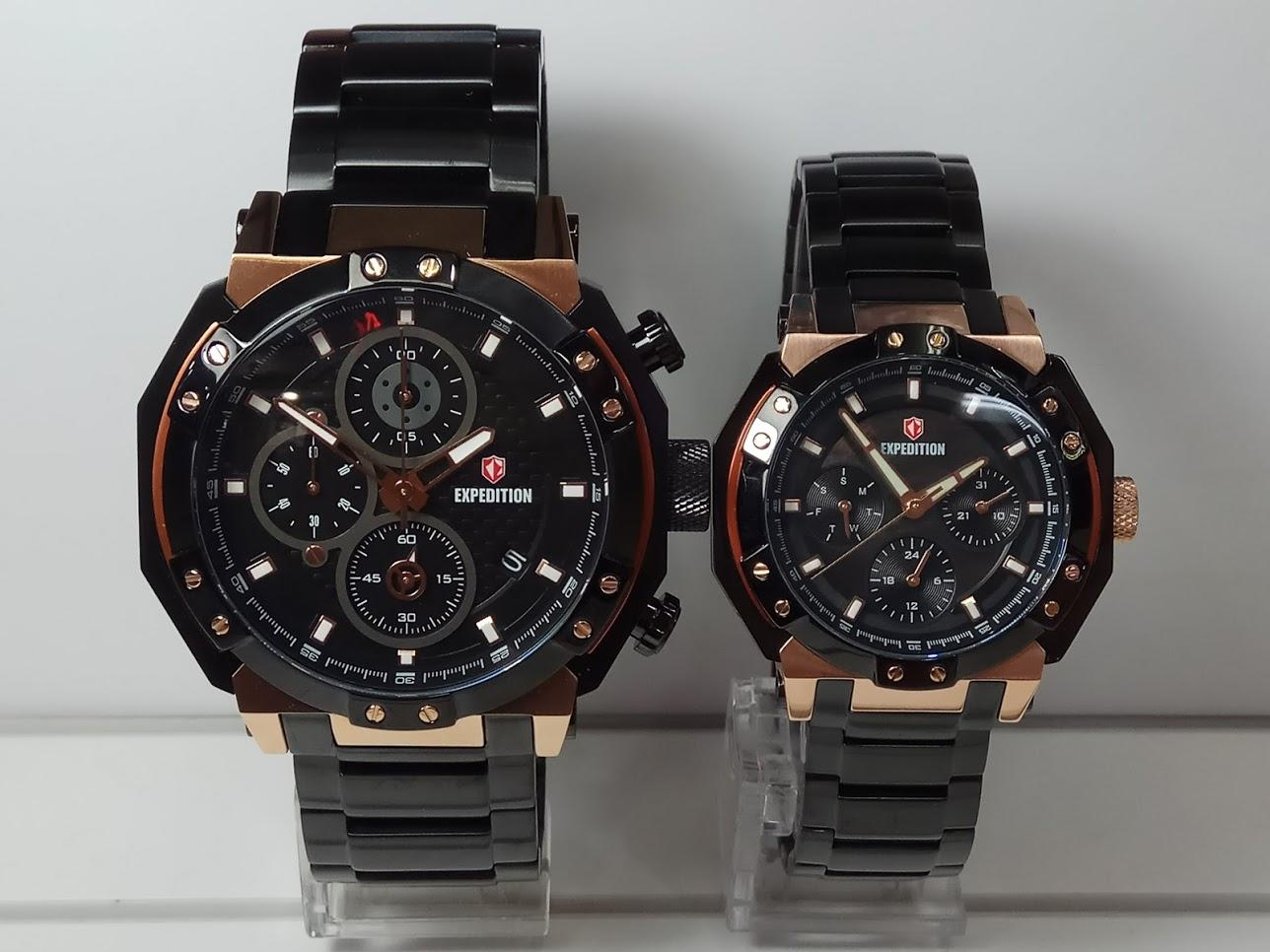 Expedition Jam Tangan Couple Expedition E6385MC/BF Black Rosegold Stainless Steel
