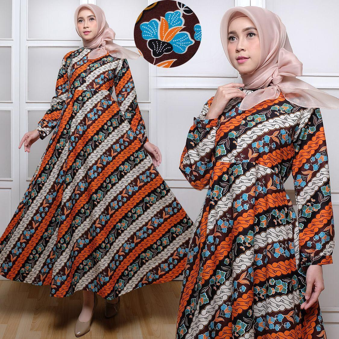 Gamis Maxi dress batik cantik katun tebal keren umbrella klok real pict busui