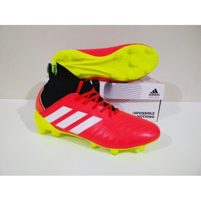 MURAH BERKUALITAS Sepatu Bola Adidas Predator Boots FG (Red Black) 100% Real Pic