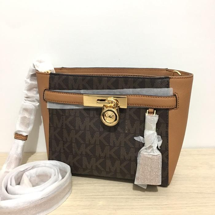 TAS MICHAEL KORS ORIGINAL - MK HAMILTON MEDIUM MESSENGER SIGN BROWN