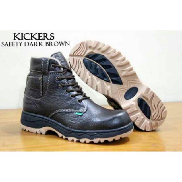 [Sepatu] Kickers Boots Safety Kulit  Tracking Proyek Ujung Besi Promo Toko Gudang Murah Bagus