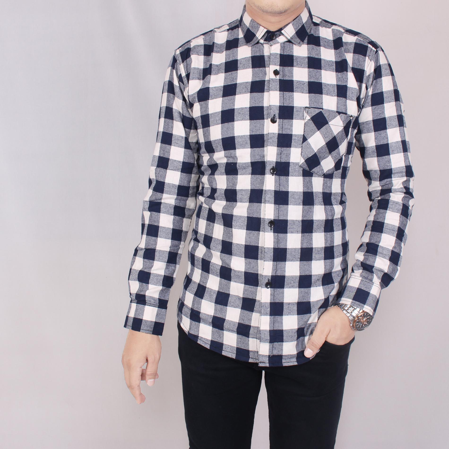 Zoeystore 5709 Kemeja Flanel Pria Lengan Pendek Exclusive Baju Kemeja Flannel Cowok Kerja Kantoran Formal Kemeja Distro Putih Kotak Navy