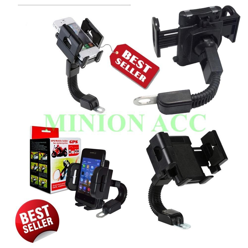 Holder Universal Spion Stand Bracket Handphone dan GPS Untuk Semua Sepeda Motor - Black [ Minion
