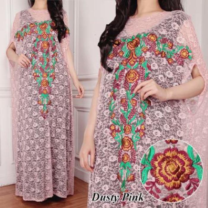 Fashion Muslim Wanita Kaftan Wanita Brukat Silk Dusty Pink Kode Dhala-fashBM461
