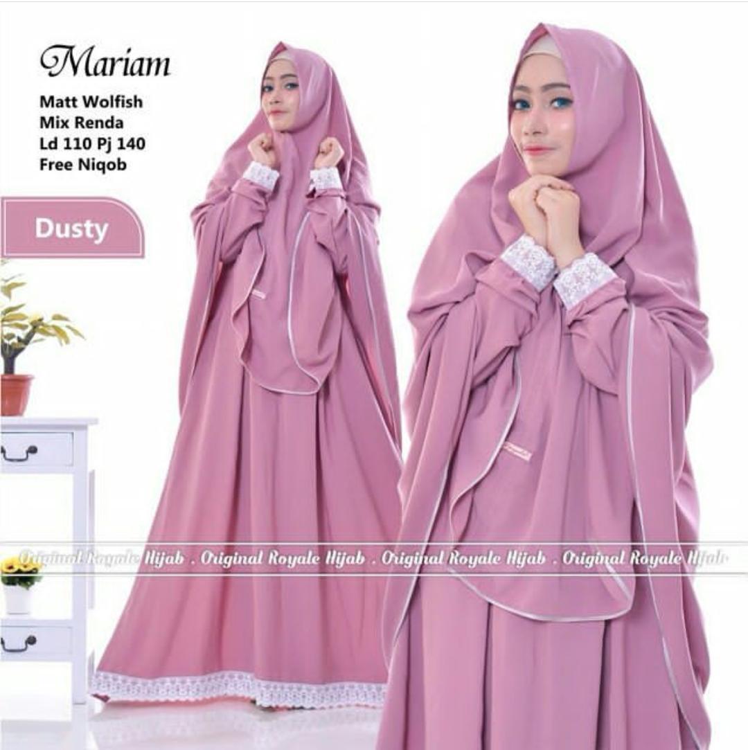 Dress Mariam Syari Gamis Wolfice Pakaian Wanita Terusan Panjang Hijab Modern Fashion Syar'I Muslim Baju Kekinian Casual Gaun Pesta Simple Modis Trendy Baju Model Terbaru