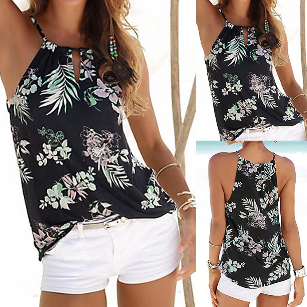 bfcf78a4b581a 2019 Wonder Tops Womens Floral Summer Strappy Vest Top Sleeveless Shirt  Blouse Casual Tank Tops