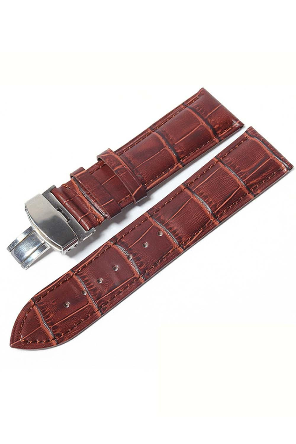 PU Leather Waterproof Adjustable Replacement Watchband Watch Band Strap Belt with Folding Clasp for 22mm Watch Lug Brown Malaysia