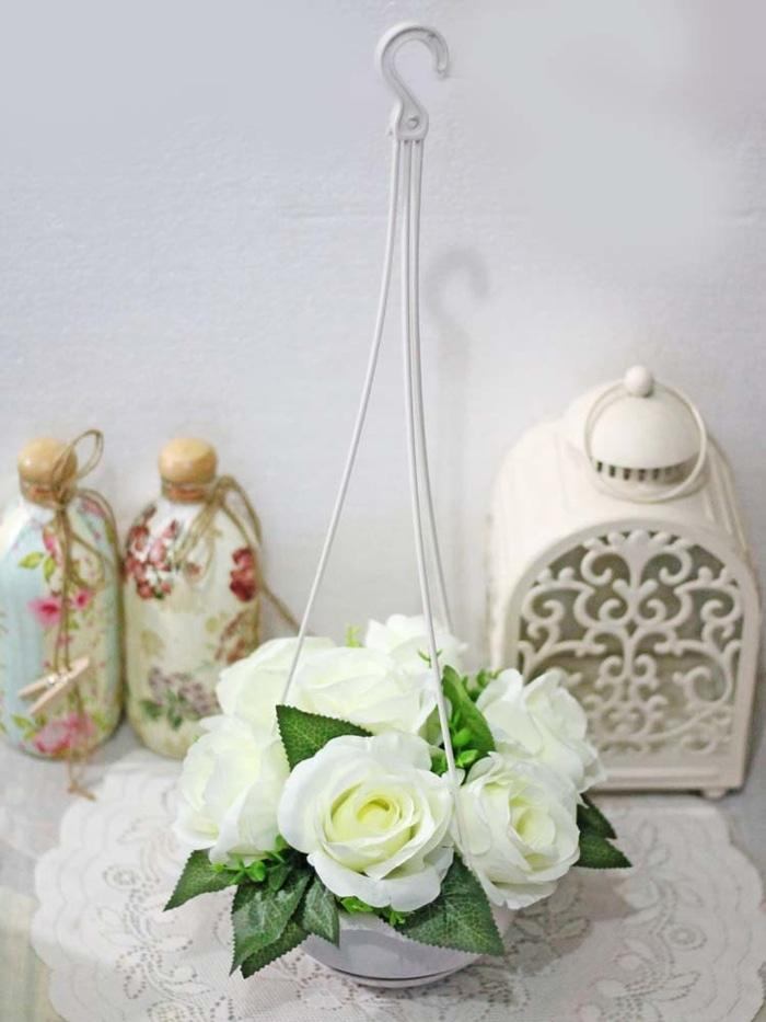 bunga plastik hias artificial mawar 7 kuntum besar + pot gantung 2 - VgbKSq