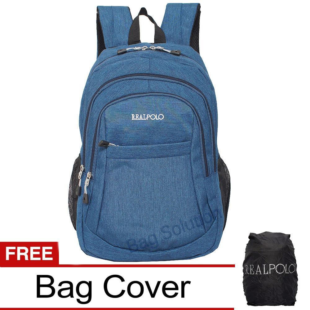 Real Polo Tas Ransel Laptop Kasual - Tas Pria Tas Wanita HCBE Backpack Up to 15 inch Bonus Bag Cover - Biru