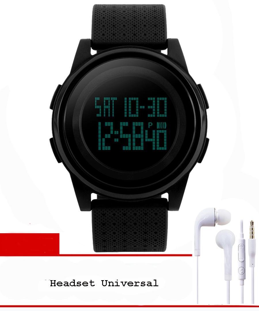 Skmei 1206 Jam Tangan Pria & Wanita Sport Led Digital Water Resistant 50M + Free Headset Samsung - Hitam