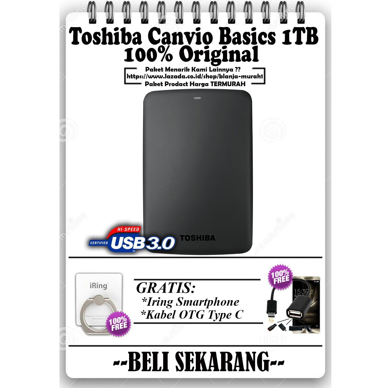PROMO! Hardisk Eksternal 1TB Toshiba Canvio Basics - GRATIS Usb OTG Type C & Iring Stand HP/Tablet