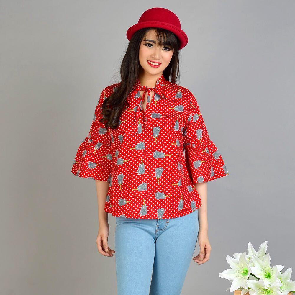 Riyani Blouse (BR840) - Baju Atasan Wanita Lengan 3/4 Katun Murah Blouse Kerah / Terbaru / Korea / Murah / Model /  Muslim / Gamis / Hijab / Modern / Kekinian /  Atasan / Formal / Casual / Pesta / Kampus / Kerja / Kantor / Dewasa