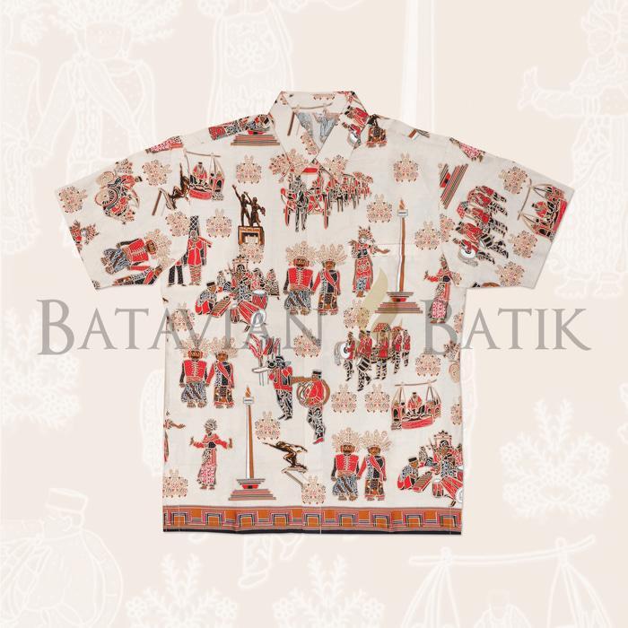 Promo Terpopuler Kemeja Batik Betawi Lengan Pendek   Krem