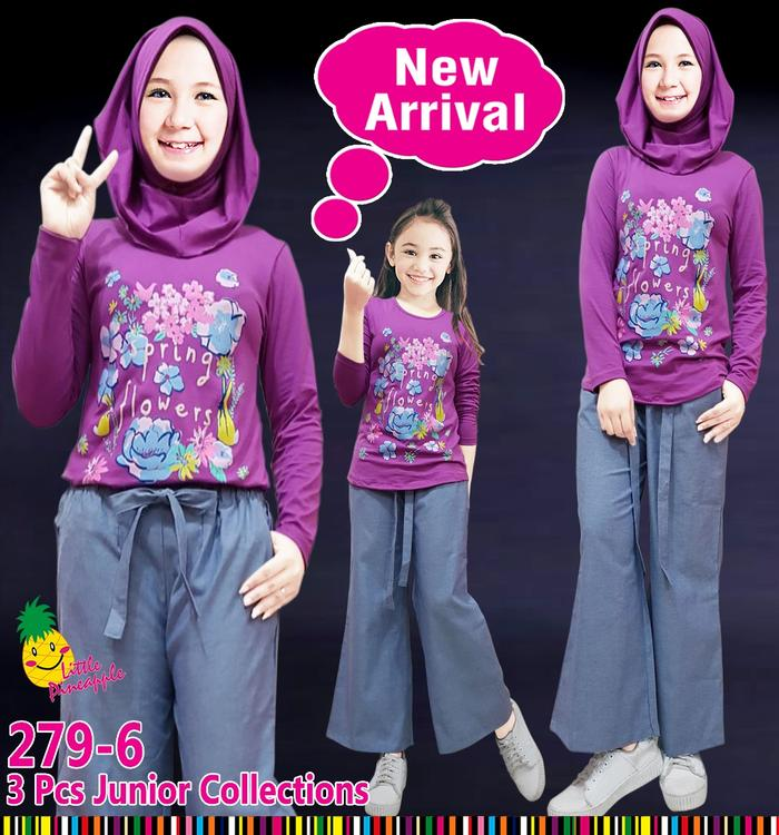 New  (7-12T) Baju Muslim Anak Perempuan Little Pineapple Spring Ungu Kulot
