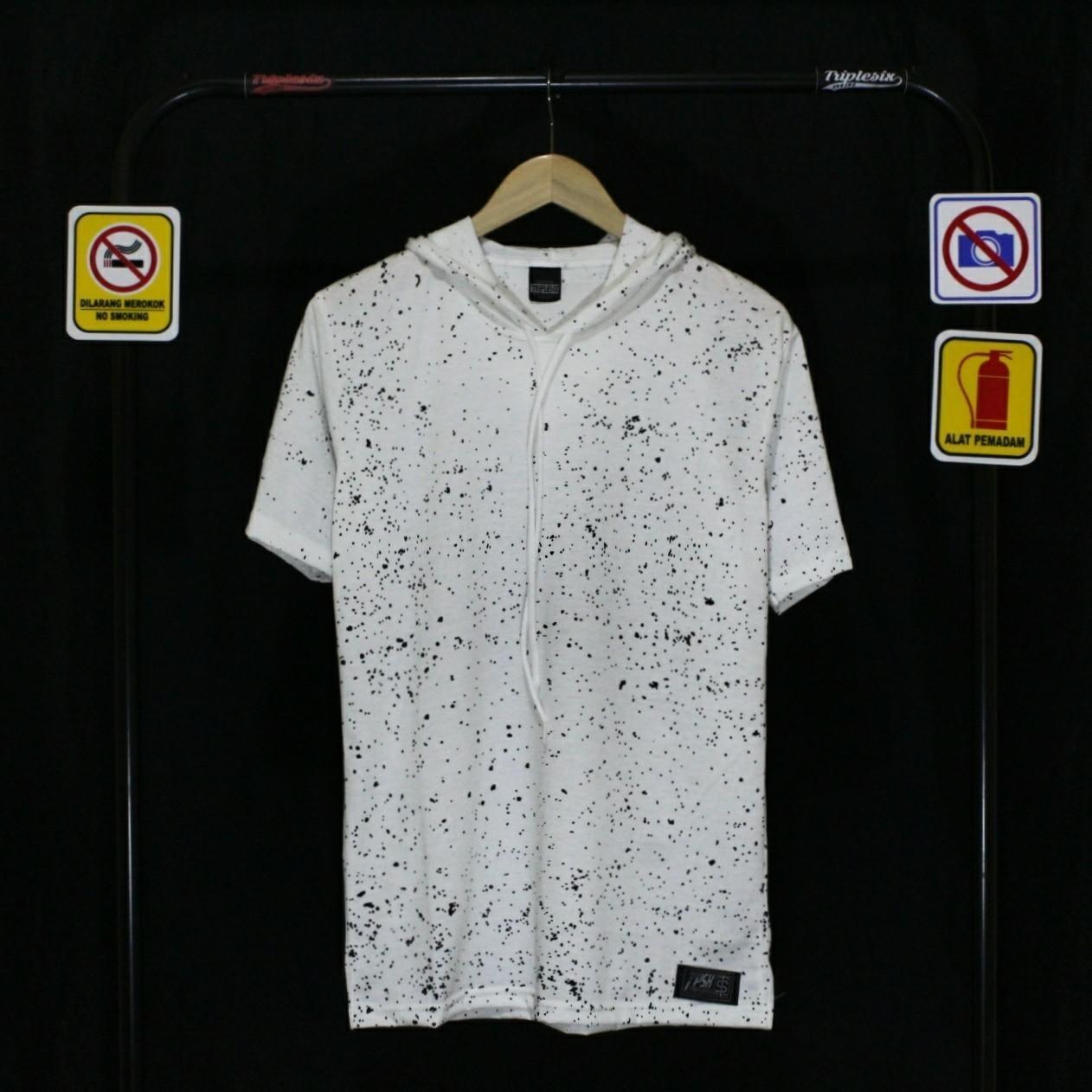 Detail Gambar Versi store-Tshirt Hoodie Triple six original-Putih full print Terbaru