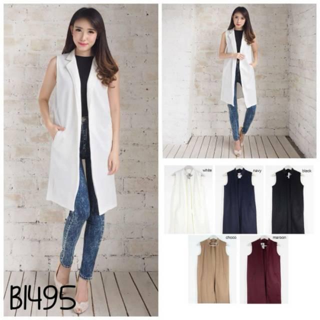 ... Fashion Pakaian Jaket Rompi Blazer Jas Formal Atasan Wanita Long Sleeve HitamIDR89000. Rp 91.000