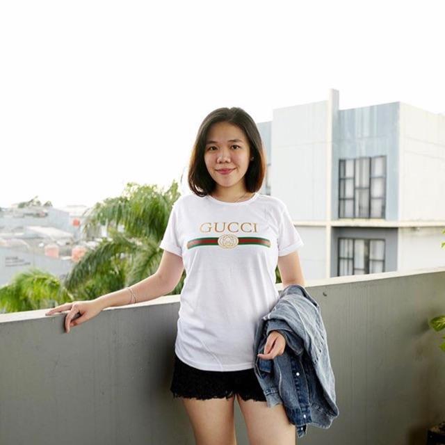 Detail Gambar T-Shirt / Tumblr Tee / Kaos Wanita Lengan Pendek GUCCI Warna Putih