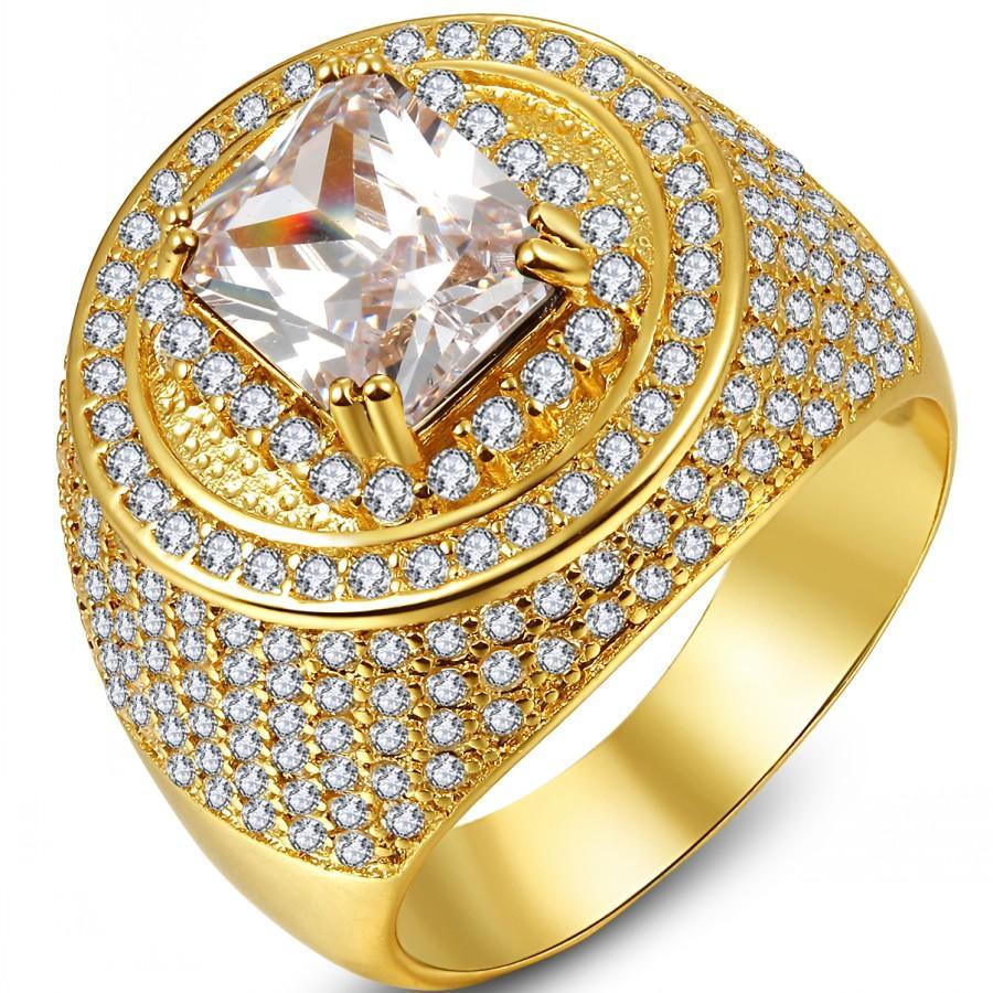 AAA Fashion Populer Pria Pria 18 K Emas Diisi Pertunangan Shinng Cincin dengan 260 Pcs Putih Kecil Zircon Batu Di Sekitar Ukuran 8-15-Intl