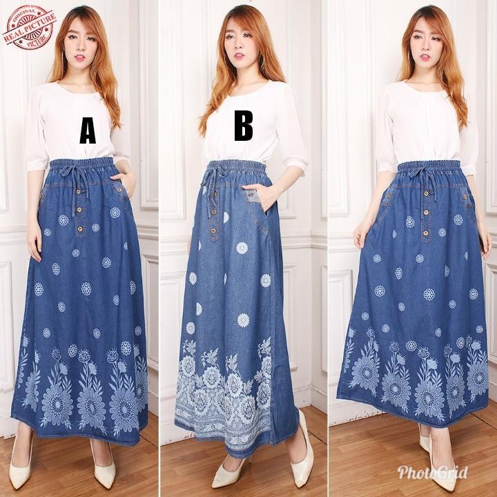Shining Collection Best Rok Panjang Aleena Rok Jeans Wanita