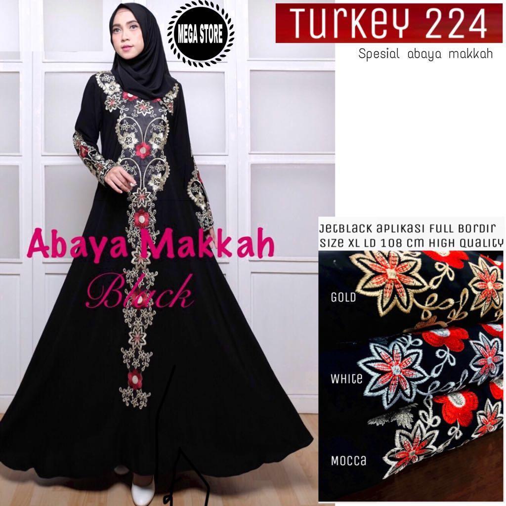 Sadeeva Baju Gamis Hitam Wanita Muslimah Modern Terbaru / Maxi Dress Abaya Turkey 224