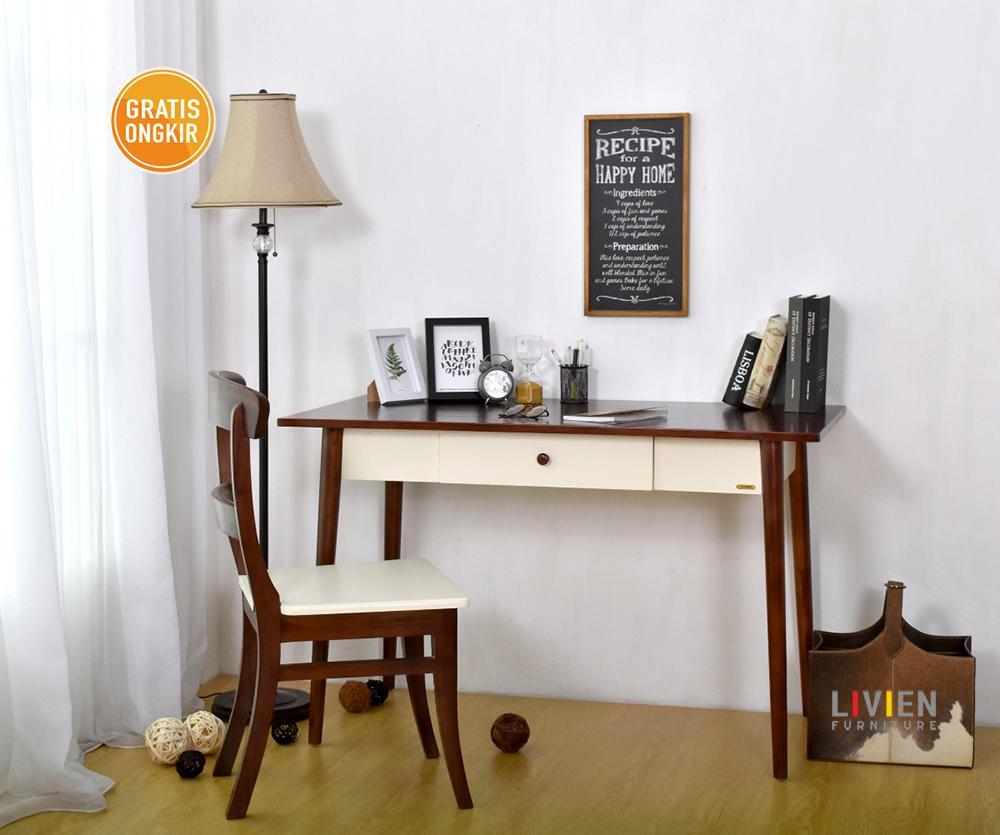 Kelebihan Livien Meja Belajar Kerja Kantor Mid Century Minimalis White Furniture Putih Detail Gambar Terbaru