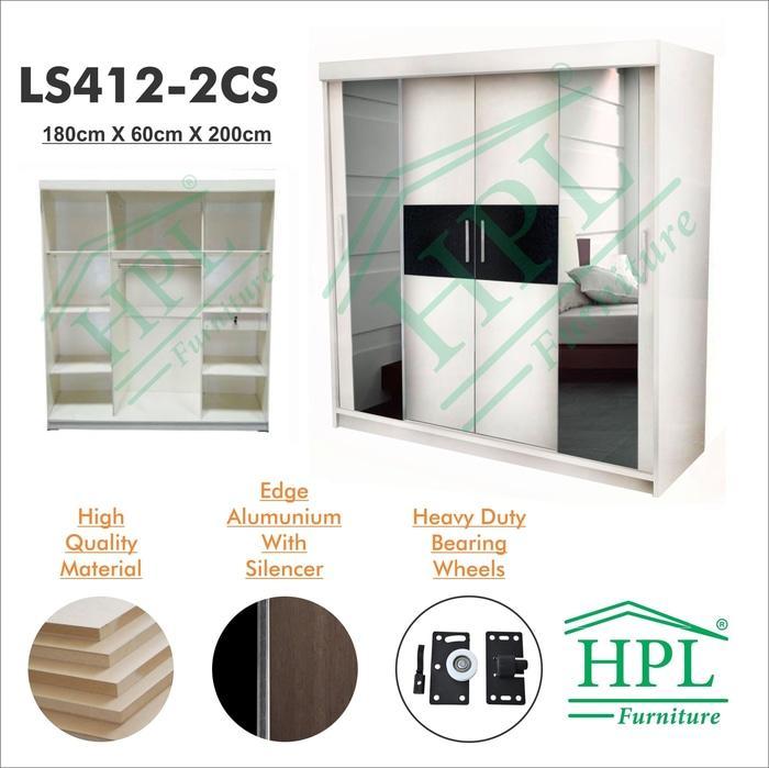 Lemari Pakaian HPL Sliding 4 Pintu Putih Strip+kaca 2 Pintu LPS-405 @ 3 pintu anak bayi kayu jati minimalis plastik gantung murah portable sliding