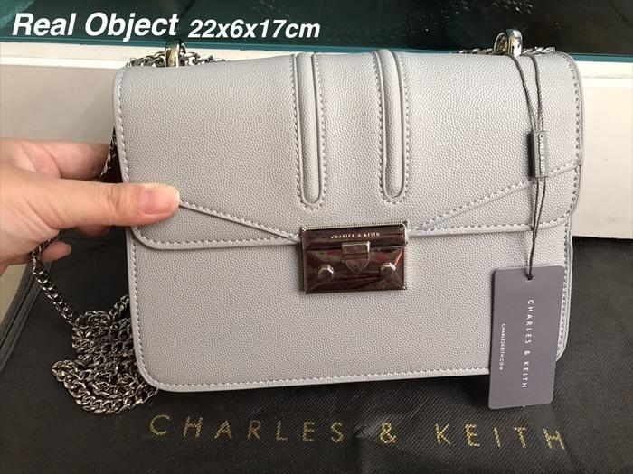 TAS WANITA CHARLES AND KEITH GREY CROSSBODY BAG ORIGINAL 6 - 2W3qHC