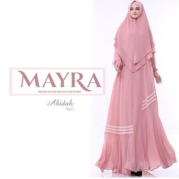 Baju Wanita Muslim Original Import Quality Dress + Khimar Abdah Syari Pink Terlaris 2018