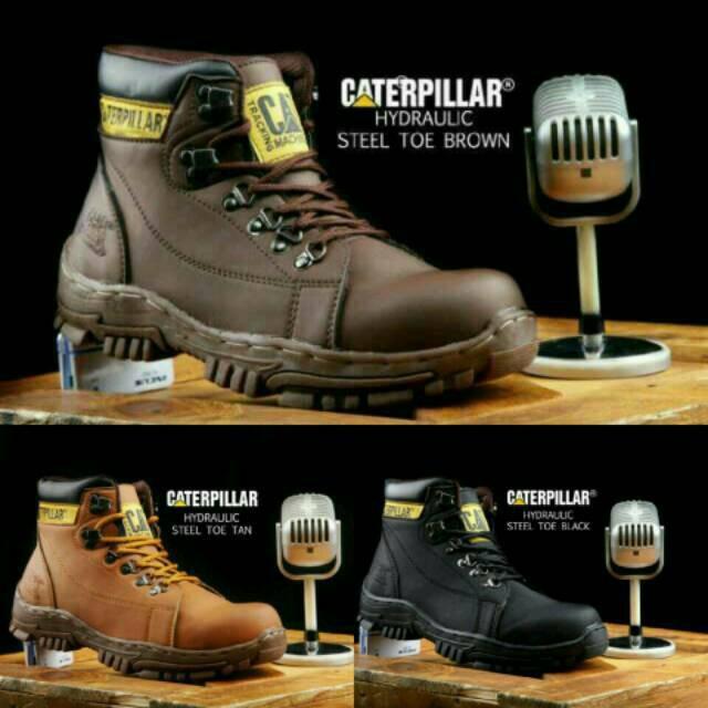 Sepatu Caterpillar Hydraulic Safety Boots Pria Steel Toe Worksafe