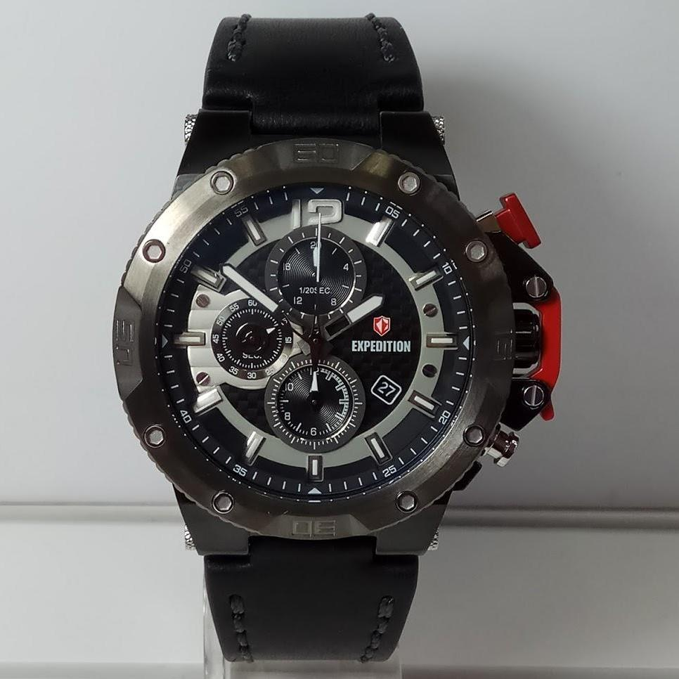 Harga Jual Jam Tangan Expedition E6657 Pria 6631 Black Orange Triple Time Original E6751mc Chronograph Leather